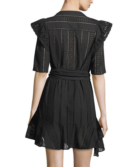 Sima V-Neck Button-Front Eyelet Lace Dress
