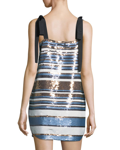 Abril Striped Sequin Cocktail Dress w/ Ribbon Ties