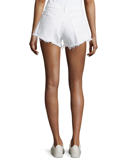 Debbie Denim Shorts w/ Frayed Hem, White