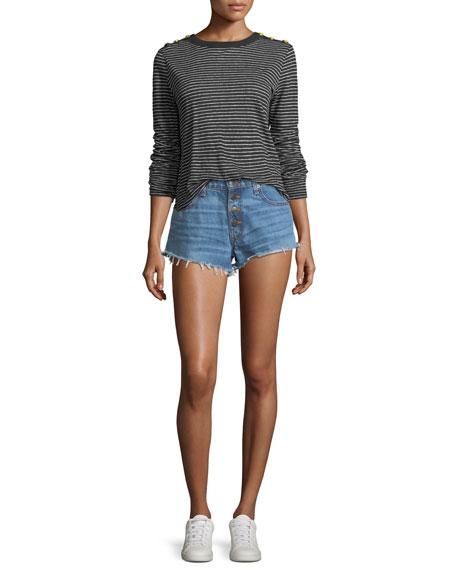 Debbie Denim Shorts w/ Frayed Hem