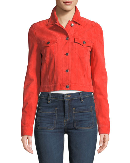 Liam Suede Button-Front Cropped Jacket