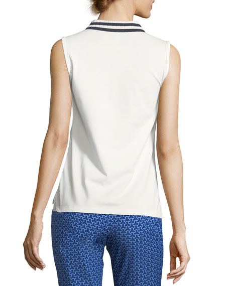 Pleated-Collar Sleeveless Polo Top