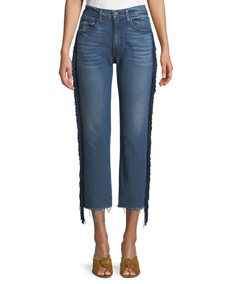 W3 Higher Ground Straight Crop Jeans with Fringe Sides