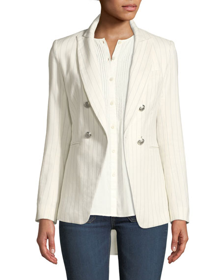 Veronica Beard Apollo Linen/Cotton Double-Breasted Jacket and