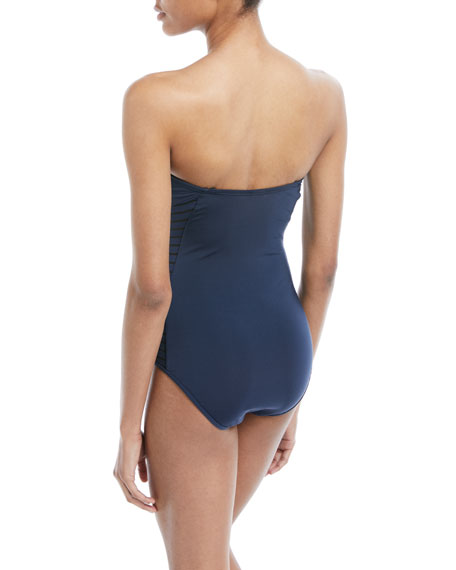 Parallels Bandeau One-Piece Swimsuit