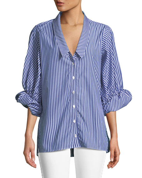 Striped Button-Down Blouse with Rolled Sleeves