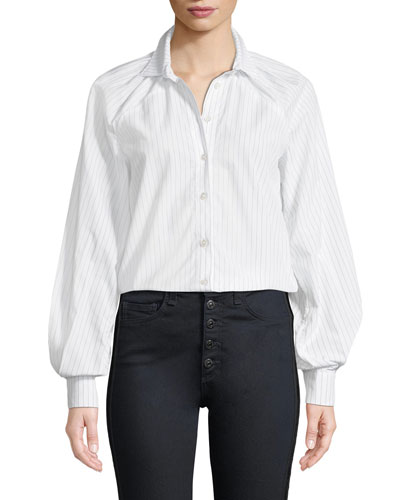 Pinstripe Long-Sleeve Button-Down Blouse with Gathered Sleeves