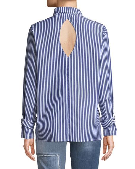 Striped Buckle-Cuff Keyhole Shirt