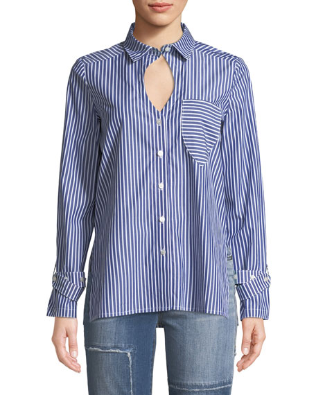 Striped Buckle-Cuff Keyhole Shirt