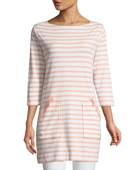 Joan Vass Striped Cotton Interlock 2-Pocket Tunic, Plus