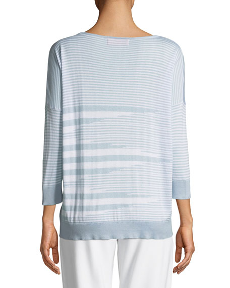 Mixed-Striped Cotton/Modal Sweater