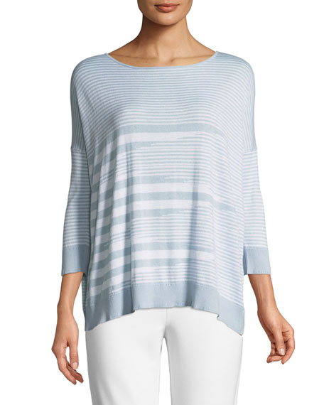 Joan Vass Mixed-Striped Cotton/Modal Sweater and Matching Items