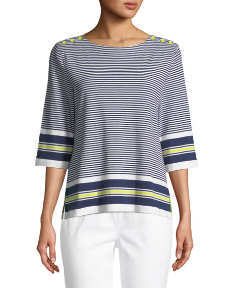 Joan Vass Border Striped 3/4-Sleeve Tunic, Plus Size