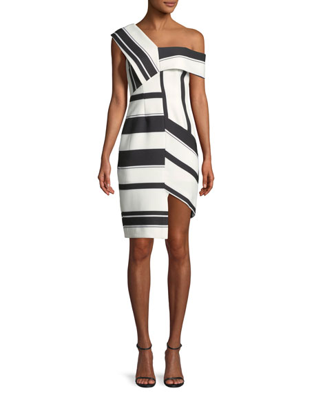 Aijek Asymmetric Stripe Sheath Cocktail Dress