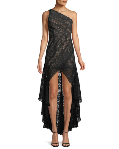 Asymmetric High-Low Lace Cocktail Dress