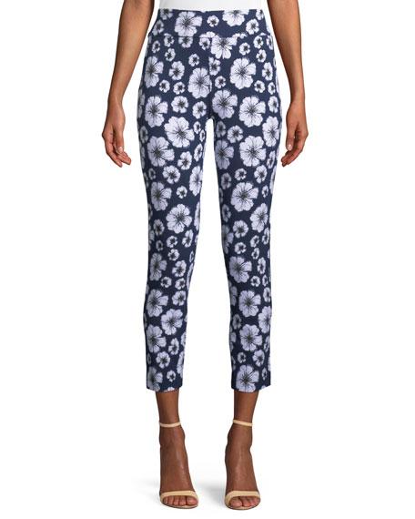 Joan Vass Floral-Print Slim Pants
