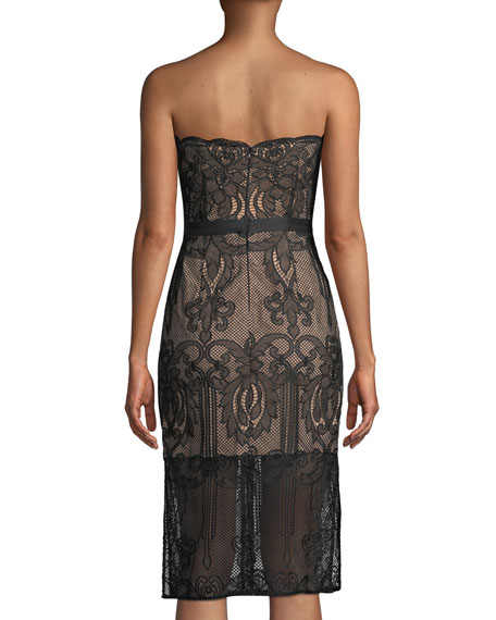 Strapless Lace Applique Cocktail Dress