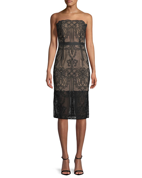 Aijek Strapless Lace Appliqu?? Cocktail Dress