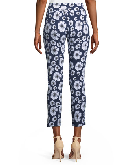 Floral-Print Slim Pants, Plus Size
