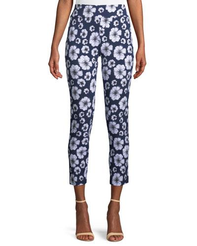Floral-Print Slim Pants, Plus Size
