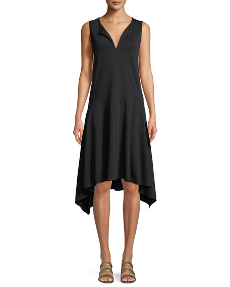 Joan Vass Sleeveless Cotton Handkerchief-Hem Dress