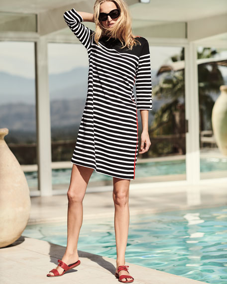 Colorblock Striped 3/4-Sleeve Dress, Plus Size