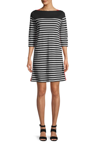 Joan Vass Plus Size Colorblock Striped 3/4-Sleeve Dress
