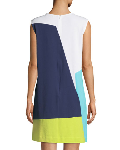 Sleeveless Colorblock Shift Dress