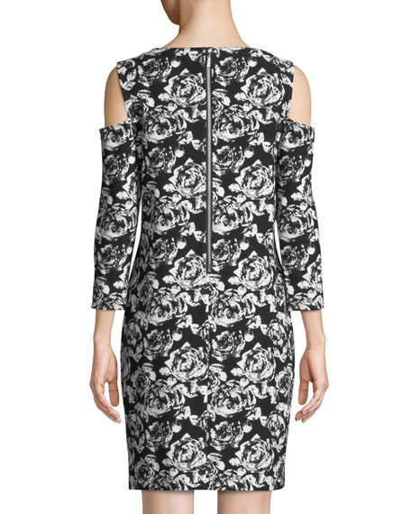 Plus Size Cold-Shoulder Floral-Print Dress