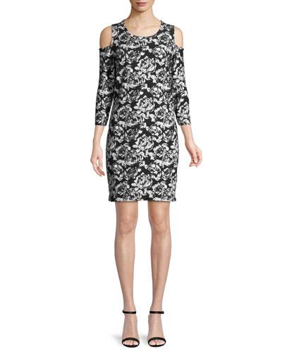 Cold-Shoulder Floral-Print Dress, Plus Size