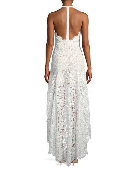 High-Low Sleeveless Lace Halter Cocktail Dress