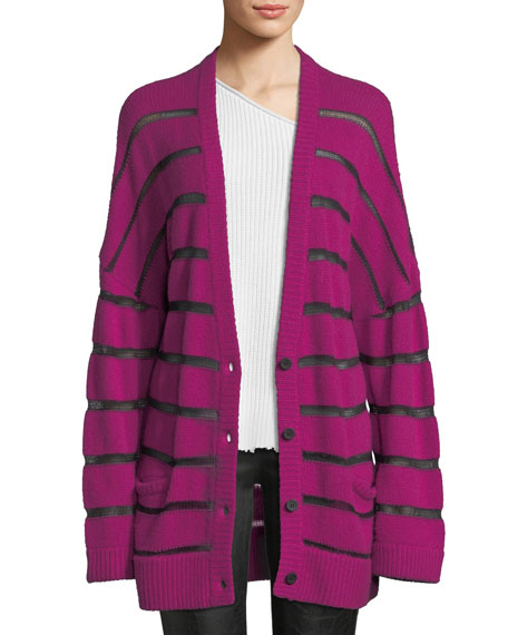 RtA Odella Striped Oversized Cashmere Cardigan