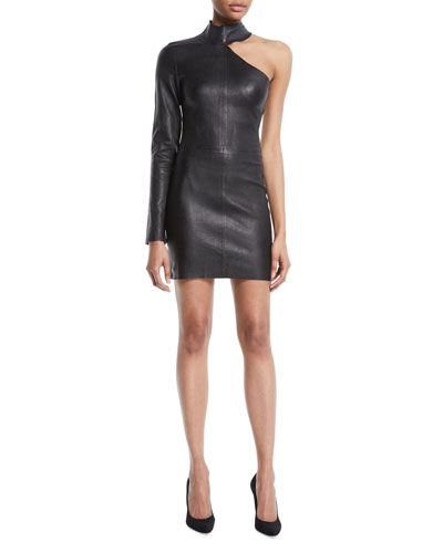 Lulu One-Sleeve Fitted Lambskin Leather Mini Dress