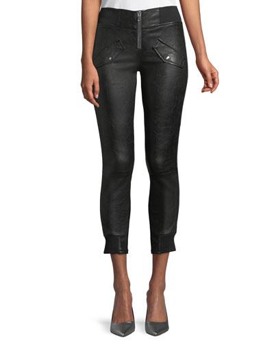 Zelda Skinny-Leg Lambskin Leather Ankle Pants