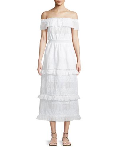 Bar Off-Shoulder Cotton Maxi Dress