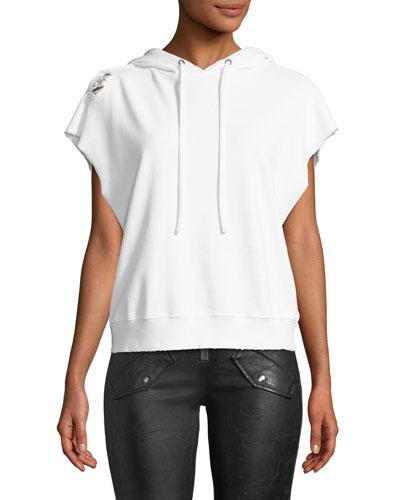 Rowan Sleeveless Hooded Sweatshirt w/ Distressing
