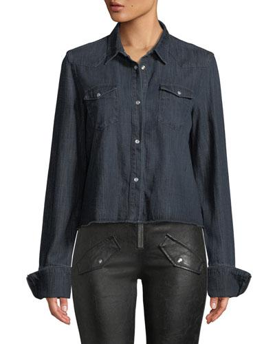 Ashley Snap-Front Long-Sleeve Dark-Wash Denim Shirt