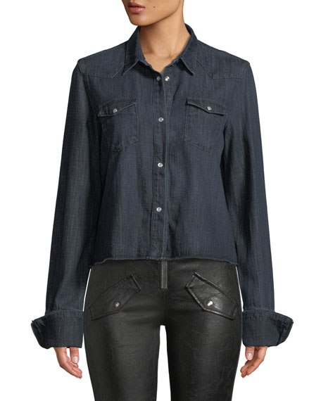Ashley Snap-Front Long-Sleeve Dark-Wash Denim Shirt
