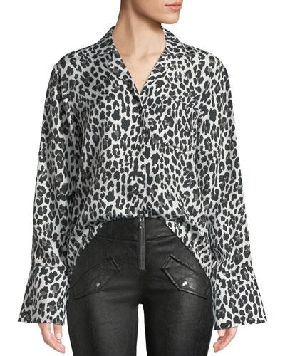 Yvonne Button-Down Leopard-Print Silk Blouse