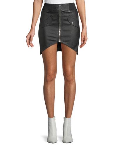 Isla Lambskin Leather Zip-Front Mini Skirt