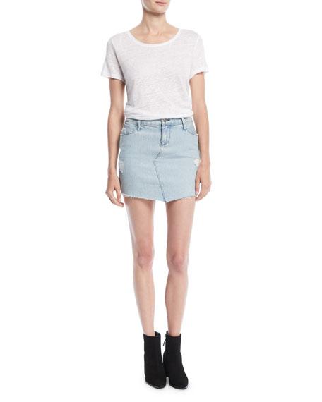 Simone Distressed Denim Mini Skirt