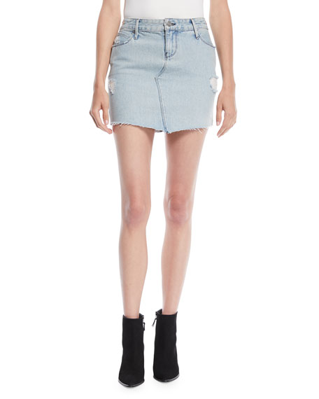 RtA Simone Distressed Denim Mini Skirt
