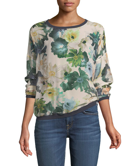7 For All Mankind Crewneck Floral-Print Silk Georgette