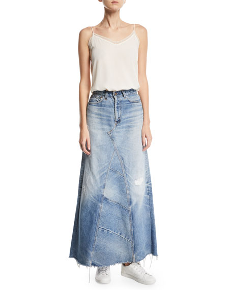 Vintage One-of-a-Kind Denim Maxi Skirt