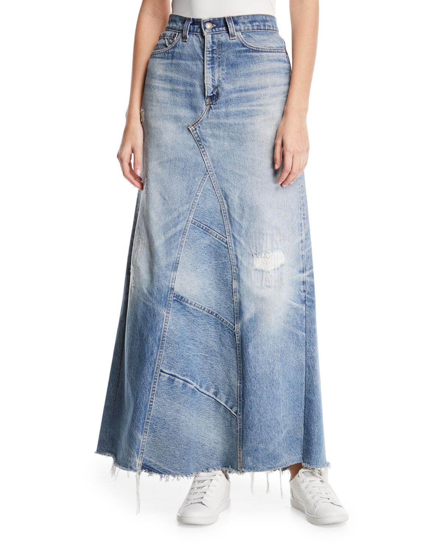 0f8e464db24a Elizabeth   James Vintage One-of-a-Kind Denim Maxi Skirt