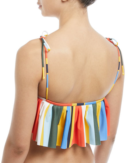 Striped Ruffled Swim Top