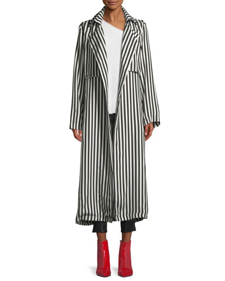 Karina Striped Silk Trench Coat