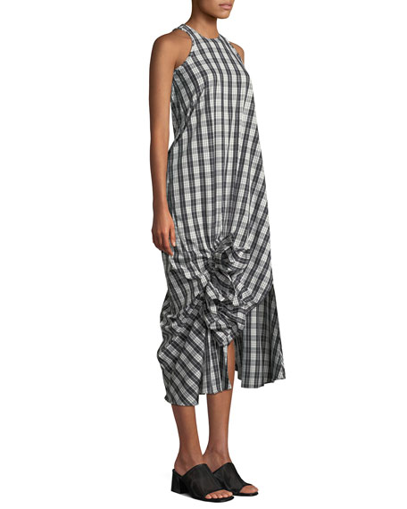 Sleeveless Checked Ruffle Midi Dress