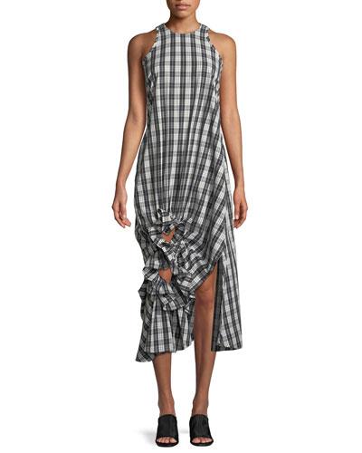 Sleeveless Checked Ruffle Midi Dress