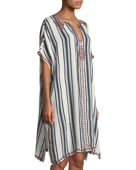 Awning Striped Linen Caftan  Coverup